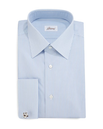 Rope-Stripe French-Cuff Dress Shirt, Blue