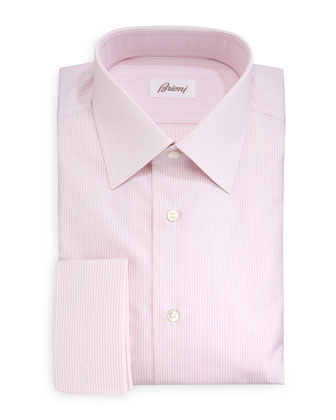 Rope-Stripe French-Cuff Dress Shirt, Pink