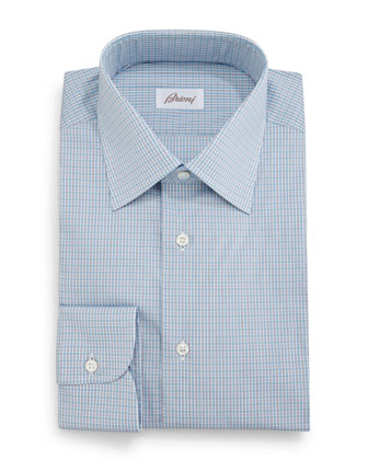 Micro-Check Grenadine Dress Shirt, Aqua