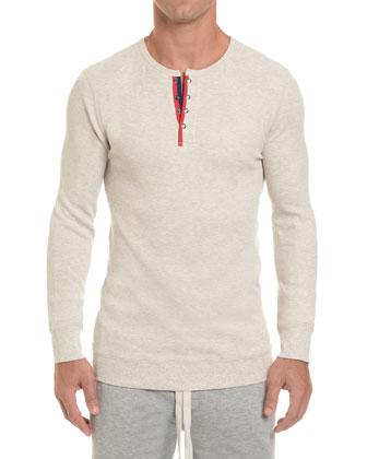 Waffle-Knit Henley Shirt, Beige