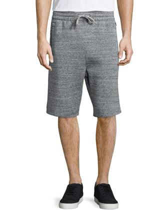 Heathered Cotton Track Shorts, Medium Gray