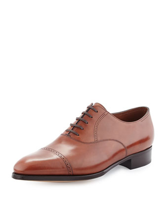 Philip II Cap-Toe Leather Oxford, Dark Brown