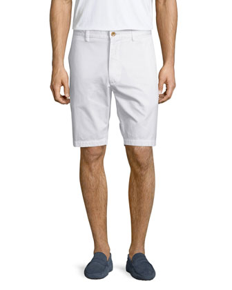 Solid Flat-Front Shorts, White