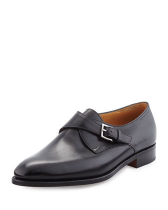 Ashill Single-Monk Leather Shoe, Black