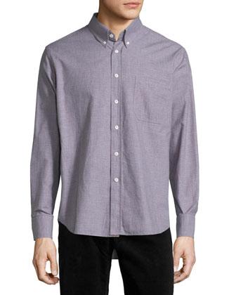 Tuscumbia Mini-Check Long-Sleeve Sport Shirt, Taupe
