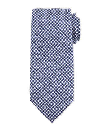 Geo-Check Silk Tie, Blue