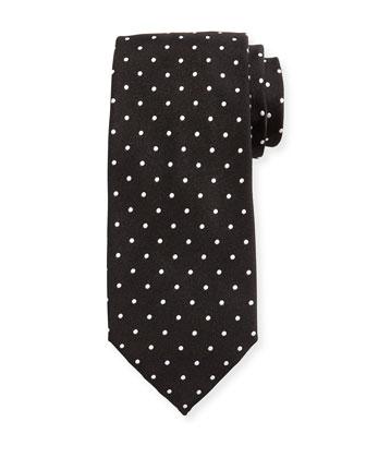 Mini Dot-Print Silk Tie, Black
