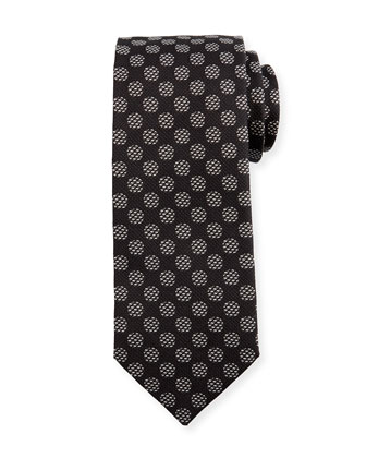 Large Geo-Dot Printed Silk Tie, Black