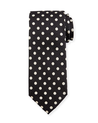 Large Dot-Print Silk Tie, Black