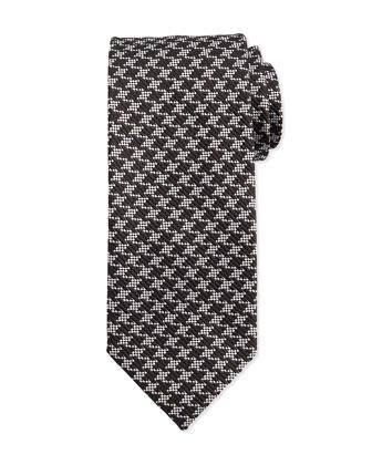 Houndstooth Silk Tie, Black