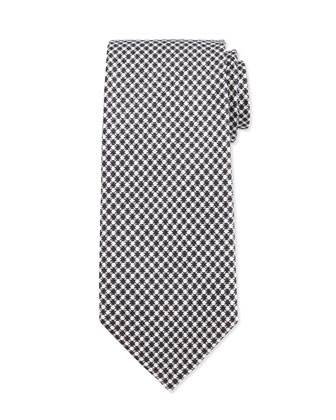 Geo-Check Silk Tie, Black