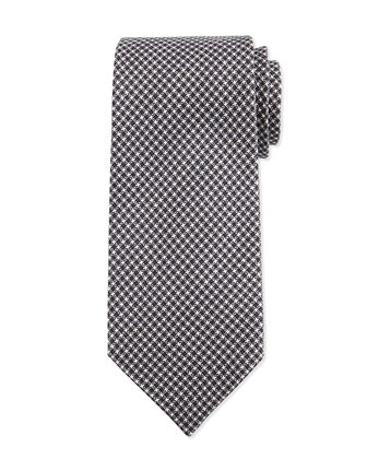 Neat Herringbone Silk Tie, Charcoal