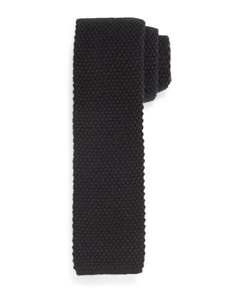 Silk Knit Flat-End Tie, Black