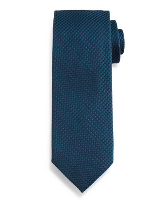 Textured Square-Check Silk Tie, Slate