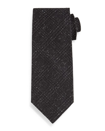 Houndstooth Plaid Tie, Black