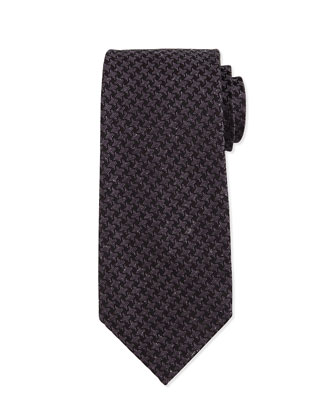 Geo-Houndstooth Printed Silk Tie, Blue