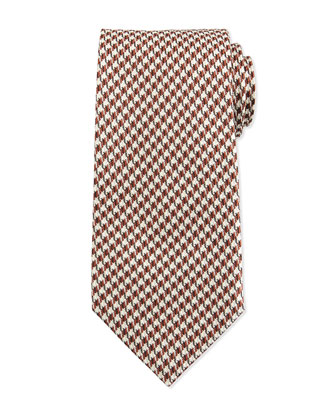 Houndstooth-Print Silk Tie, Orange