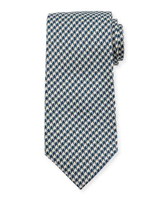 Houndstooth-Print Silk Tie, Blue