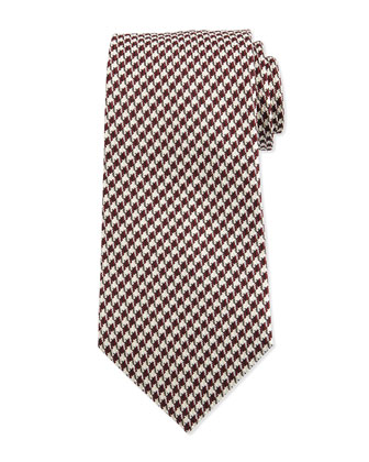 Houndstooth Silk Tie, Red