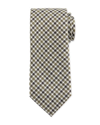 Striped Houndstooth-Print Silk Tie, Green