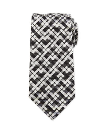 Textured Plaid Silk Tie, Black