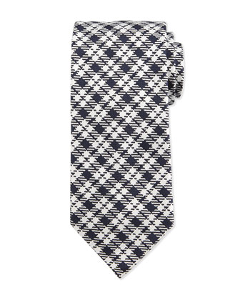 Textured Plaid Silk Tie, Blue