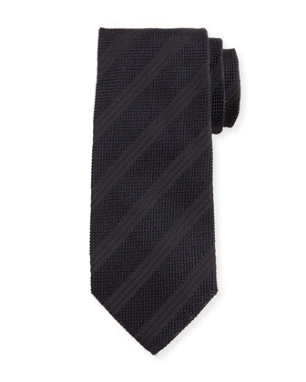 Textured Diagonal-Stripe Silk Tie, Black