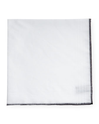 Plaid-Border Silk Pocket Square, Black