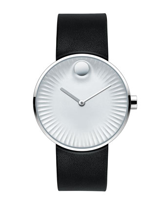 40mm Edge Watch with Rubber Strap, Silver