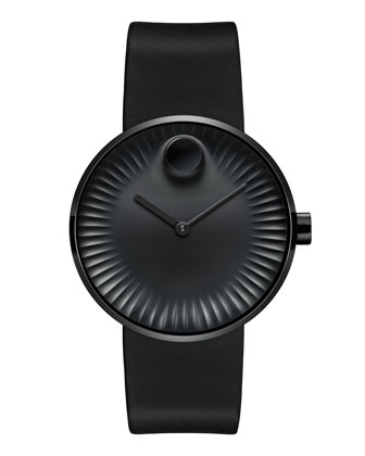 40mm Edge Watch with Rubber Strap, Black