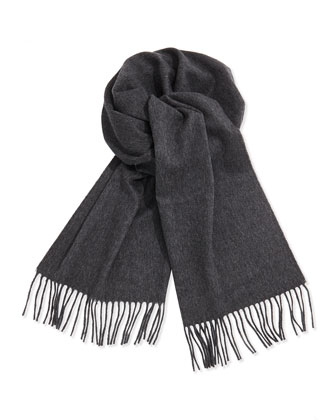 Cashmere Solid Fringe Scarf, Gray