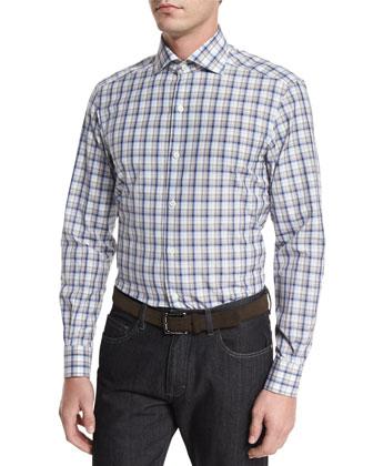 Birdseye Quarter-Zip Cashmere-Blend Sweater, Plaid Long-Sleeve Sport Shirt ...