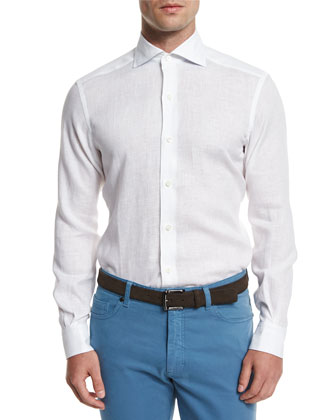 Linen Long-Sleeve Sport Shirt, White