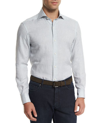 Linen Long-Sleeve Sport Shirt, Gray