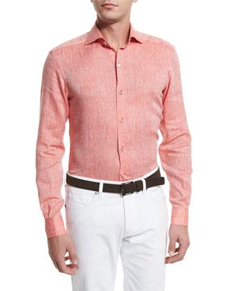 Linen Long-Sleeve Sport Shirt, Orange
