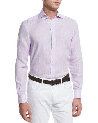 Linen Long-Sleeve Sport Shirt, Lilac