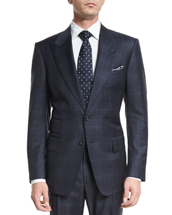 Windsor Base Over-Plaid Two-Piece Suit, Navy