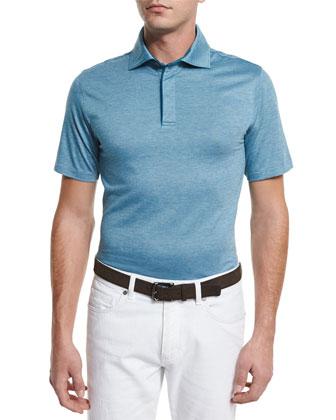 Stretch-Cotton Polo Shirt, Teal