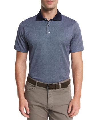 Birdseye Short-Sleeve Jersey Polo Shirt, Blue