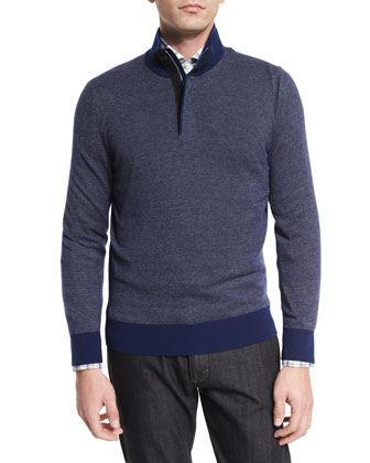 Birdseye Quarter-Zip Cashmere-Blend Sweater, Navy