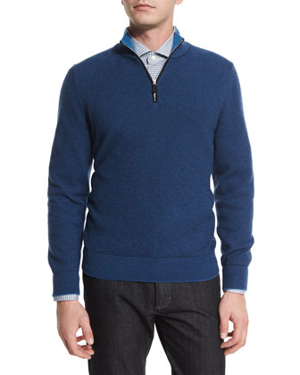 Waffle-Knit Quarter-Zip Pullover Sweater, Fishing-Print Long-Sleeve Sport ...