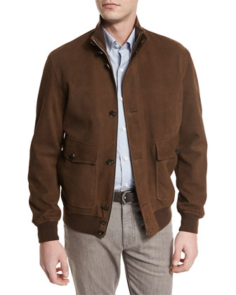 Full-Grain Suede Button-Down Jacket, Cognac
