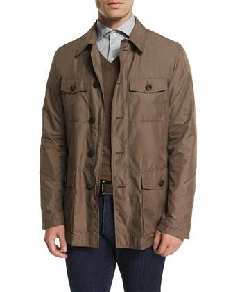 Button-Down Safari Jacket, Beige