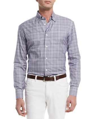 Plaid Long-Sleeve Sport Shirt, Purple/White