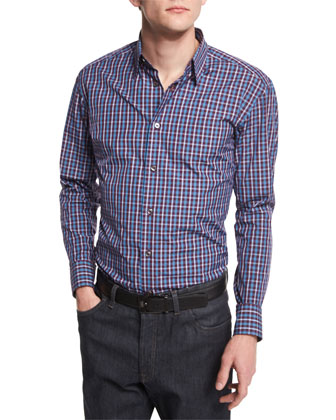 Check Long-Sleeve Sport Shirt, Burgundy