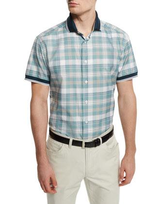 Plaid Short-Sleeve Shirt with Contrast Trim, Aqua