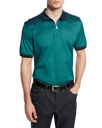Tape-Tipped Zip Polo Shirt, Green