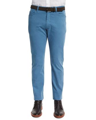 Five-Pocket Stretch-Cotton Pants, Sky Blue