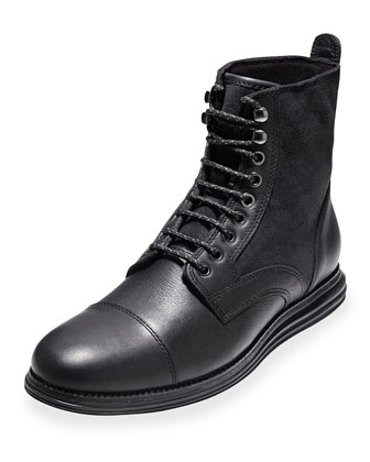 LunarGrand Waterproof Lace-Up Boots, Black