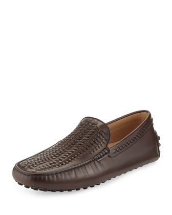 Gommini Woven Leather Driver, Brown